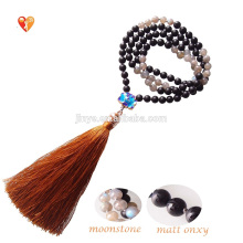 108 Yoga Shiny Moonstone Labradorite Black Matt Onyx Mala Beads Necklace For Women