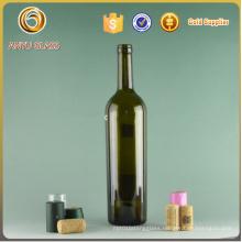 750ml Dark Green Bordeaux Glass Wine Bottle with Cork Stoppers