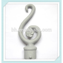 Home Garden Power Coated Silver Curtain Rod Finial