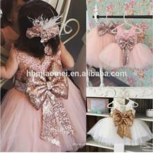 2017 новое прибытие розовый,белый,зеленый блестки цветочница платье с большим бантом тюль цветочница платье