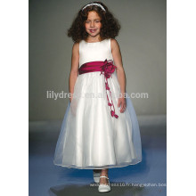 White A-Line Zipper Back Flower Appliques Haut Tank Customized Flower Girl Dress Vestidos FGZ40 Children Frocks Designs