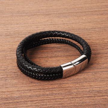 Mens Mixed Genuine Leather Manetic Clasp Bracelet