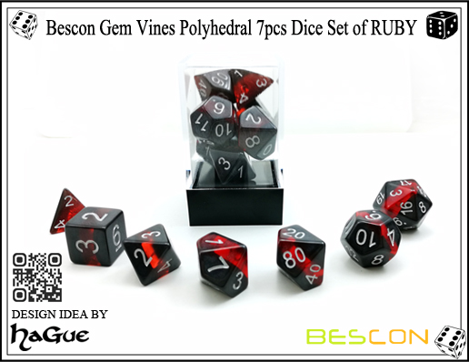 Bescon Gem Vines Polyhedral 7pcs Dice Set of RUBY-4