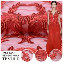 Bordado de casamento Designer de qualidade superior bordado tecido africano bordado