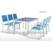 Горячая распродажа на открытом воздухе Все погоду черный лак обеденный стол и стул
