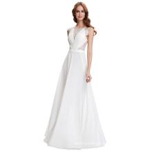 Kate Kasin Full-Length Sleeveless Chiffon White Prom dress KK000117-1