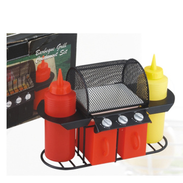 6pcs grill ensemble de condiments de barbecue en plastique de poulet