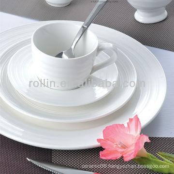 Double line series white porcelain used restaurant dinnerware