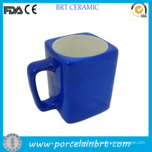 Promotional Blue Outside Certified Square Ceramic Mug