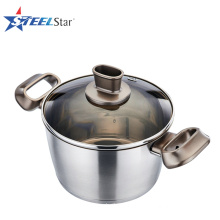 Cone shape sandwich bottom stainless steel cookware with glass lid