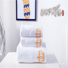 Hotel towel / Soft satin border bleach white crown cotton bath towel sets