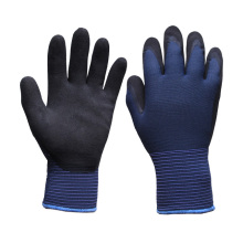 Blue Polyester Outside Shell, Gray Terry Brushed Inside, Knitted Working Gloves Coated with Black Sandy Nitrile on Palm (N1611)