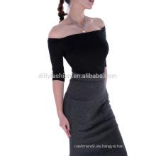 Falda lápiz de punto apretado de cachemira de cintura alta para mujer