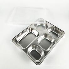 assiette à dîner divisée réutilisable, plateau à message à 5 compartiments avec couvercle
