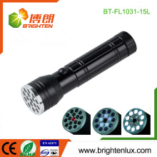 Factory Supply 3*AAA battery Used 3 in1 Multi-functional Portable Metal Materail 15 led Laser Torch with 5 Blue UV light