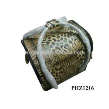 2014 melhor vendedor profissional saco cosmético do PVC com padrão tigre e 4 bandejas removíveis dentro fabricante