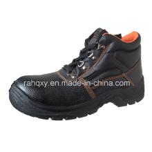 Sapatos de segurança dividir couro gravado com malha forro (HQ01011)