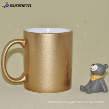 11oz Sublimation Ceramic Golden/Silver Mug with handle