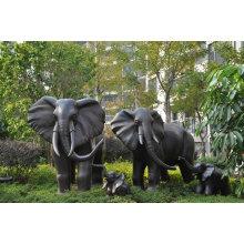 Decoración de bronce gran jardín elefante escultura de metal