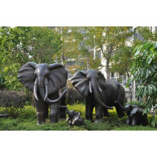 Decoração de bronze grande jardim elefante escultura de metal