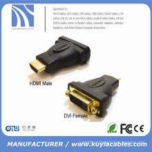 HDMI macho para DVI-D (24 + 1) adaptador fêmea, banhado a ouro