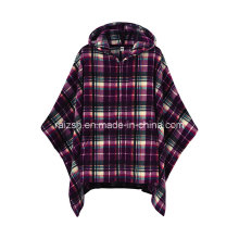 Soft Fleece Poncho with Check Printed