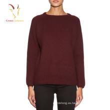 cuello redondo de mujer 100% jerséis de lana merina al por mayor