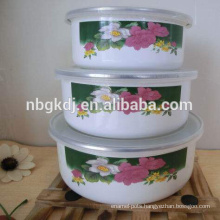 white flower coated enamel coating mixing bowls set