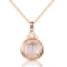 Women′s Hibiscus Stone Rose Gold Pendant Necklacet with Chain