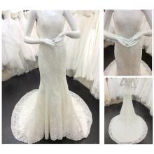 El envío libre de la nueva marfil de la manera de la llegada sin tirantes ata para arriba el vestido de boda Appliqued 2015 A078 de la sirena del Vestido de Noiva de la tren de la corte