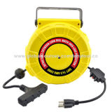 High-quality cable reel with heavy duty plastic housing, mounting brackets and adjustable cord stopNew