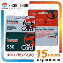 Carte cadeau en plastique / PVC Die Cut Card