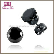 2013 Neue Produkte Black-plated Edelstahl Ohrring Schwarz Cubic Zirkonia Ohrstecker mit Schmetterlingen