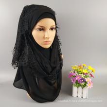 Usine de mode Musulman hijab châles écharpe tête gros plaine musulman femmes maxi épais bulle mousseline de soie Dentelle hijab