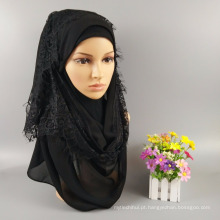 Fábrica de moda muçulmano hijab xales cachecol cabeça atacado planície muçulmano mulheres maxi bolha espessa chiffon rendas hijab