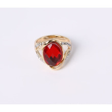Dark Red Glass Stones Fashion Jewelry Ring