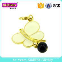 Top vente mode papillon Charms bijoux en or 18 carats avec une perle