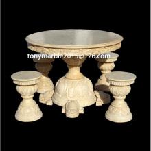 Mesas de mármol beige de la escultura de la piedra (SY-T001)