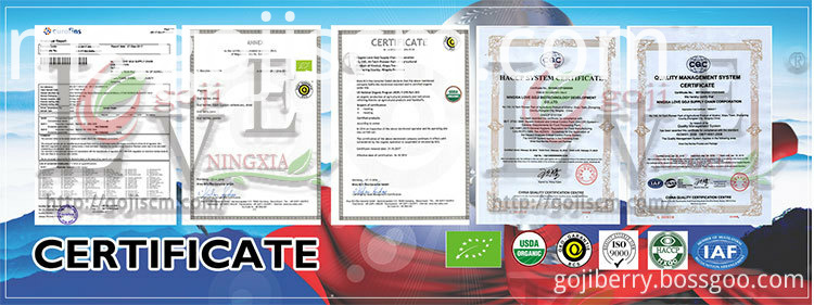2017 New Crop Goji Berries certificate