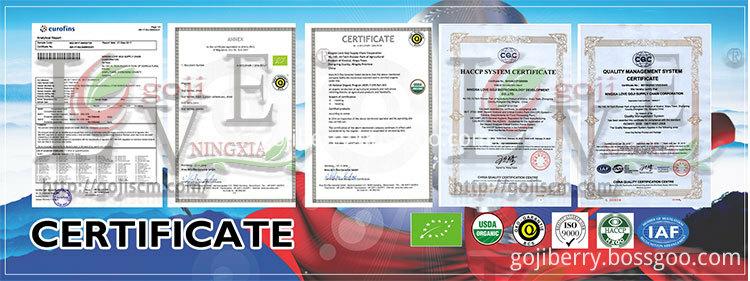 2017 NEW GOJI BERRY certificate
