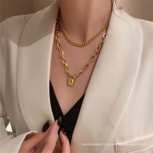 Personalized wild thick chain lock head item for women simple multi-layer retro necklace sweater chain