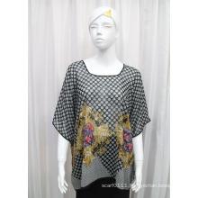 Lady Round Neck Fashion Printed Polyester Chiffon Silk T-Shirt (YKY2221)