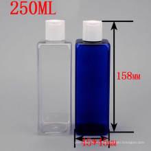 250ml Transparente Azul Cuadrado De Plástico De Cosméticos Embalaje De Disco Tapa De Prensa Botella