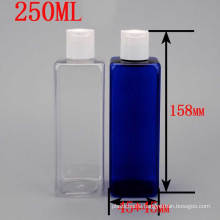 250ml Transparent Blue Square Plastic Cosmetic Packaging Disc Top Press Cap Bottle