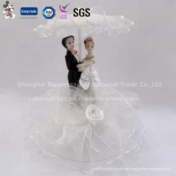 Hübsche Stoff Hochzeit Puppe Cake Topper