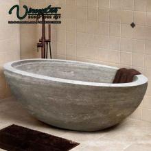 2018 Nueva bañera de piedra natural independiente redonda hecha a medida en negro para la venta independiente