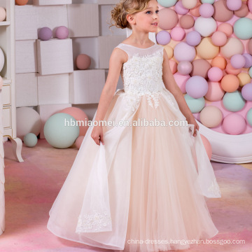 2017 new arrival see through sleeveless lovely lace flower girl dress for wedding