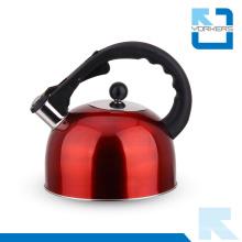 Elegante aço inoxidável Whistling Chaleira e Chaleira de Água com Cool Black Handle