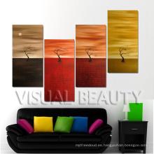 Árbol abstracto contemporáneo de la pintura al óleo del grupo en lona