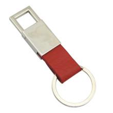 Promoção titular de metal chave de couro com laser gravar logotipo (f3006c)